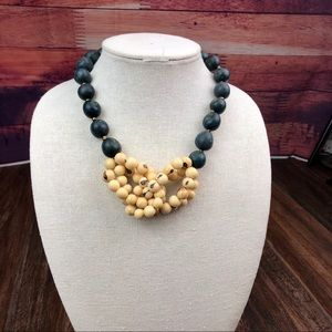 Açaí Seed Knotted Necklace -Gray/Green & Creme